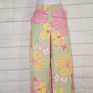 """🚨""""Lilly Pulitzer"""" Green Floral Wide leg Pants 8"""